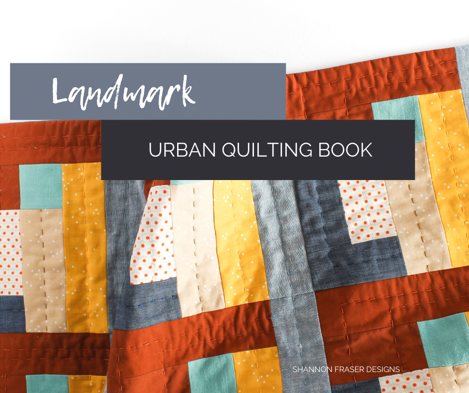Hand quilted Landmark quilted wall hanging | Urban Quilting Book | Shannon Fraser Designs #quiltedwallhanging