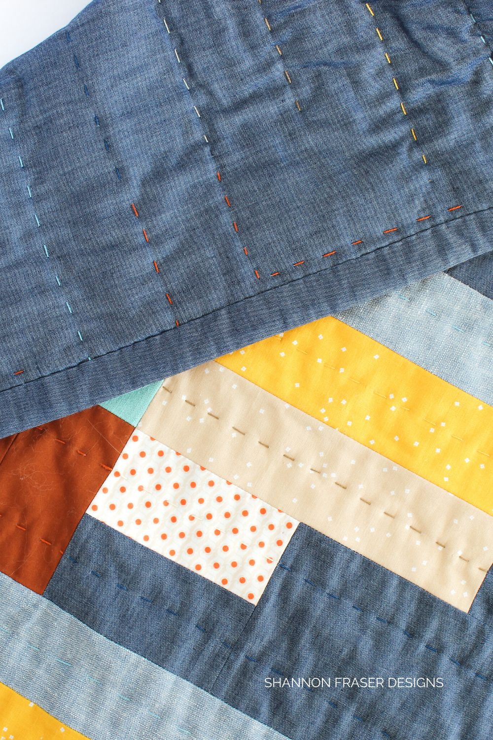 Faced binding for a nice clean finish on the hand quilted Landmark quilted wall hanging | Urban Quilting Book | Shannon Fraser Designs #modernquilt