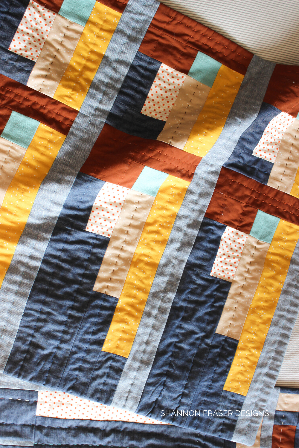 Big stitch hand quilted Landmark wall hanging I made from the Urban Quilting Book | Shannon Fraser Designs #modernwallart