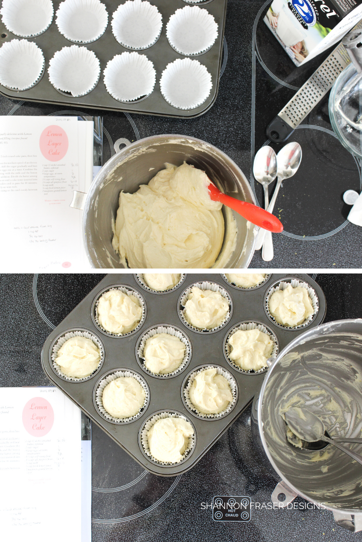 Lemon cupcakes in the making - mixing and then filling the baking cups | Lemon Cupcakes