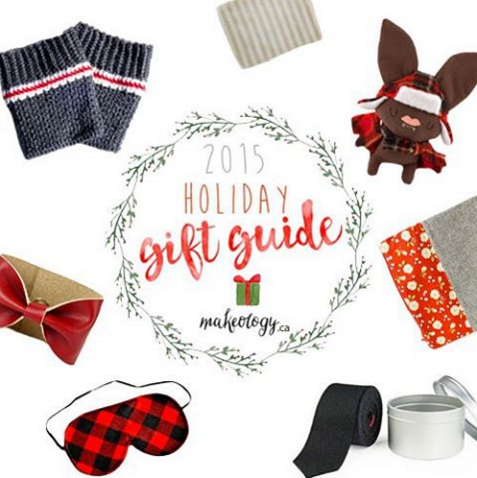 Makeology 2015 gift guide showing handmade designs including a fold-over clutch