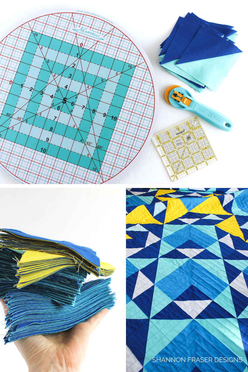 Martelli Round-about cutting mat, stack of blue and yellow half square triangles ready to be trimmed and close up of the quilting on the Double Windmill quilt | Shannon Fraser Designs