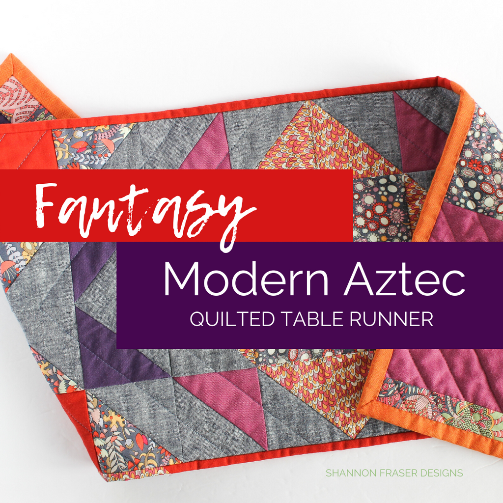 Modern Aztec quilted table runner featuring Fantasy fabric collection from Windham fabrics | Home Decor | Shannon Fraser Designs #quiltedtablerunner