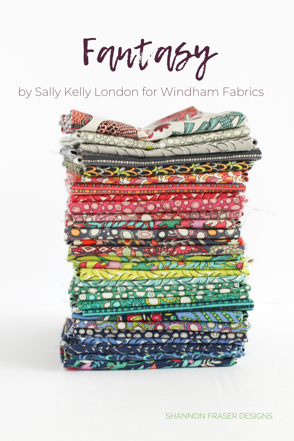 Fat quarter stack of Fantasy fabric collection designed by Sally Kelly London for Windham Fabrics | Modern Aztec quilted table runner | Shannon Fraser Designs #fatquarterbundle