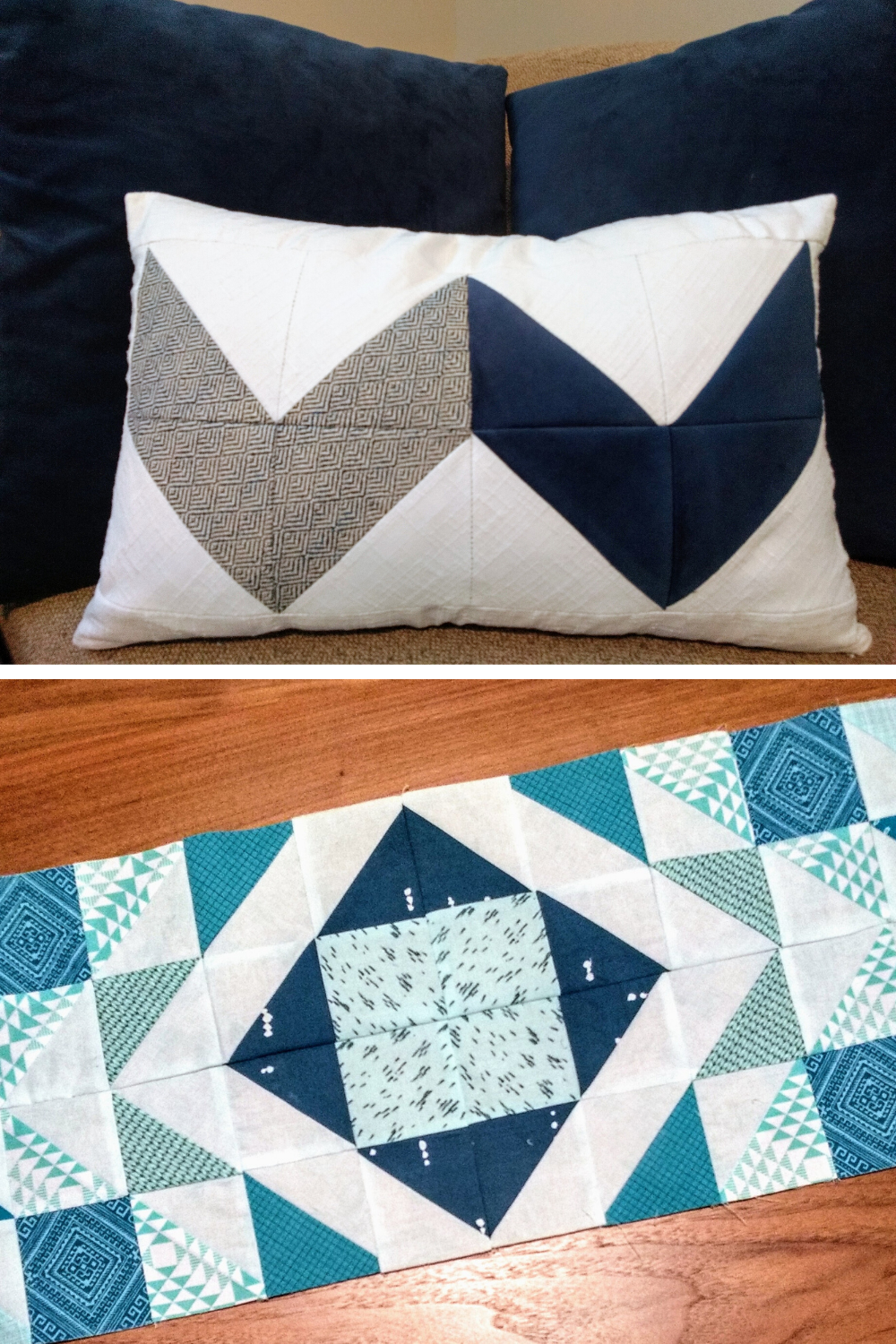 Navy, gray and white Double Chevron quilted lumbar pillow + Turquoise and teal Modern Aztec quilted table runner | Modern quilt patterns | Shannon Fraser Designs #quiltedpillow