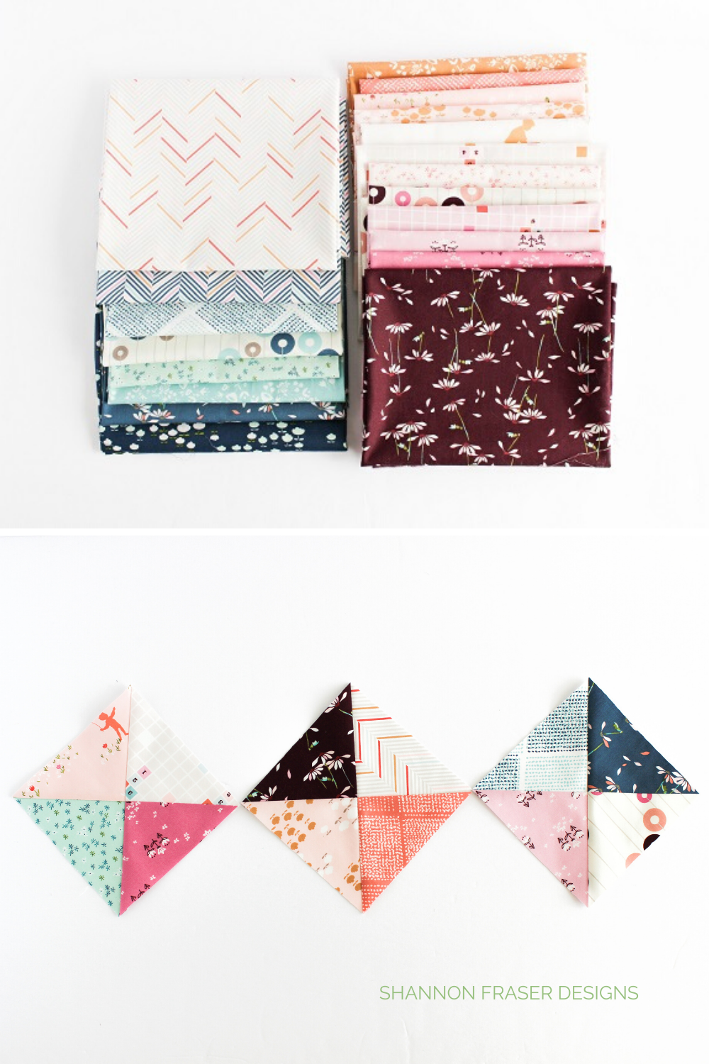 Playground fat quarter bundle and hourglass quilt blocks featuring the fabrics | Playground showcase | Shannon Fraser Designs #quilting
