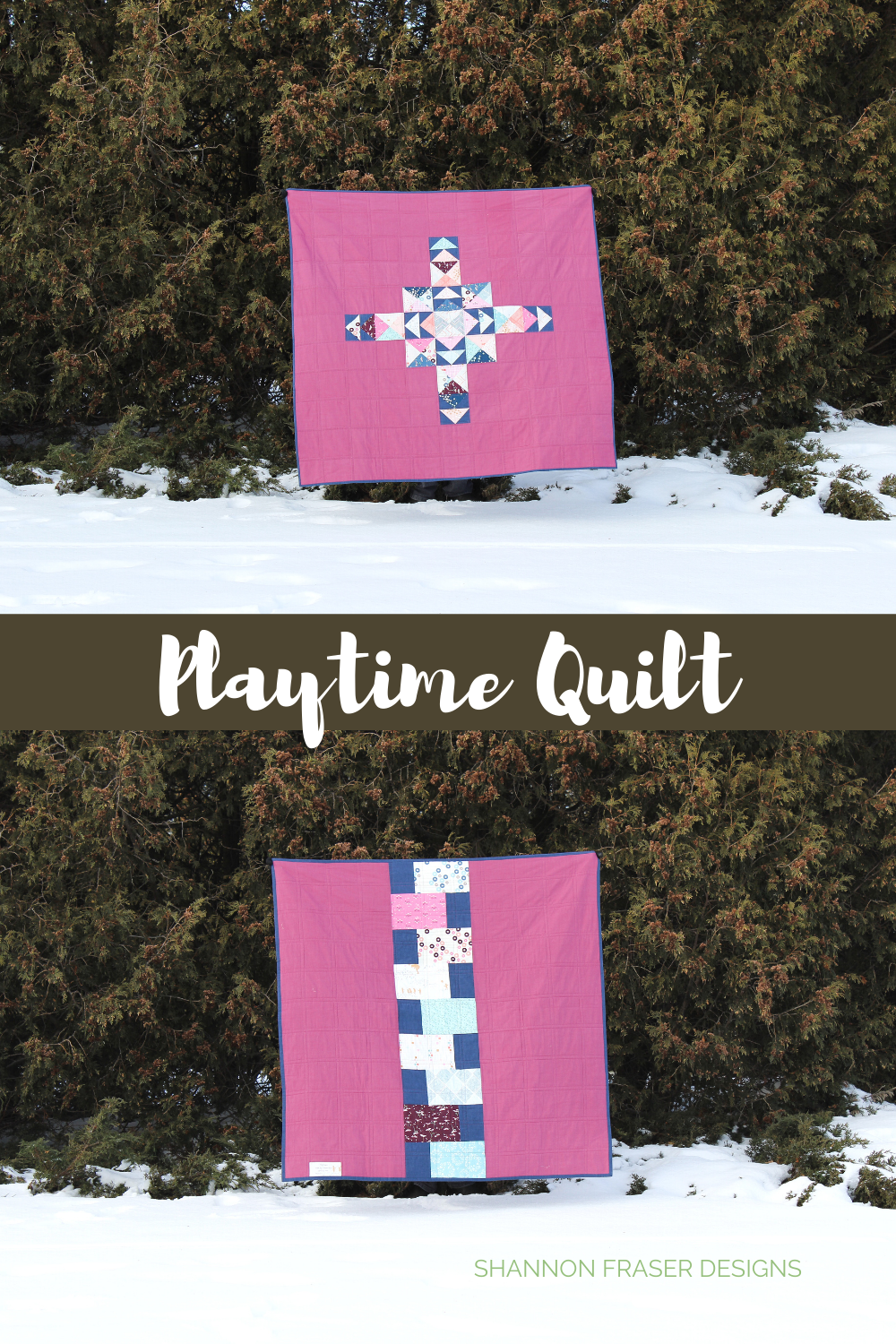 Playtime quilt in the winter wild - front and back views of the quilt | Playground Showcase | Shannon Fraser Designs #quiltsinthewild