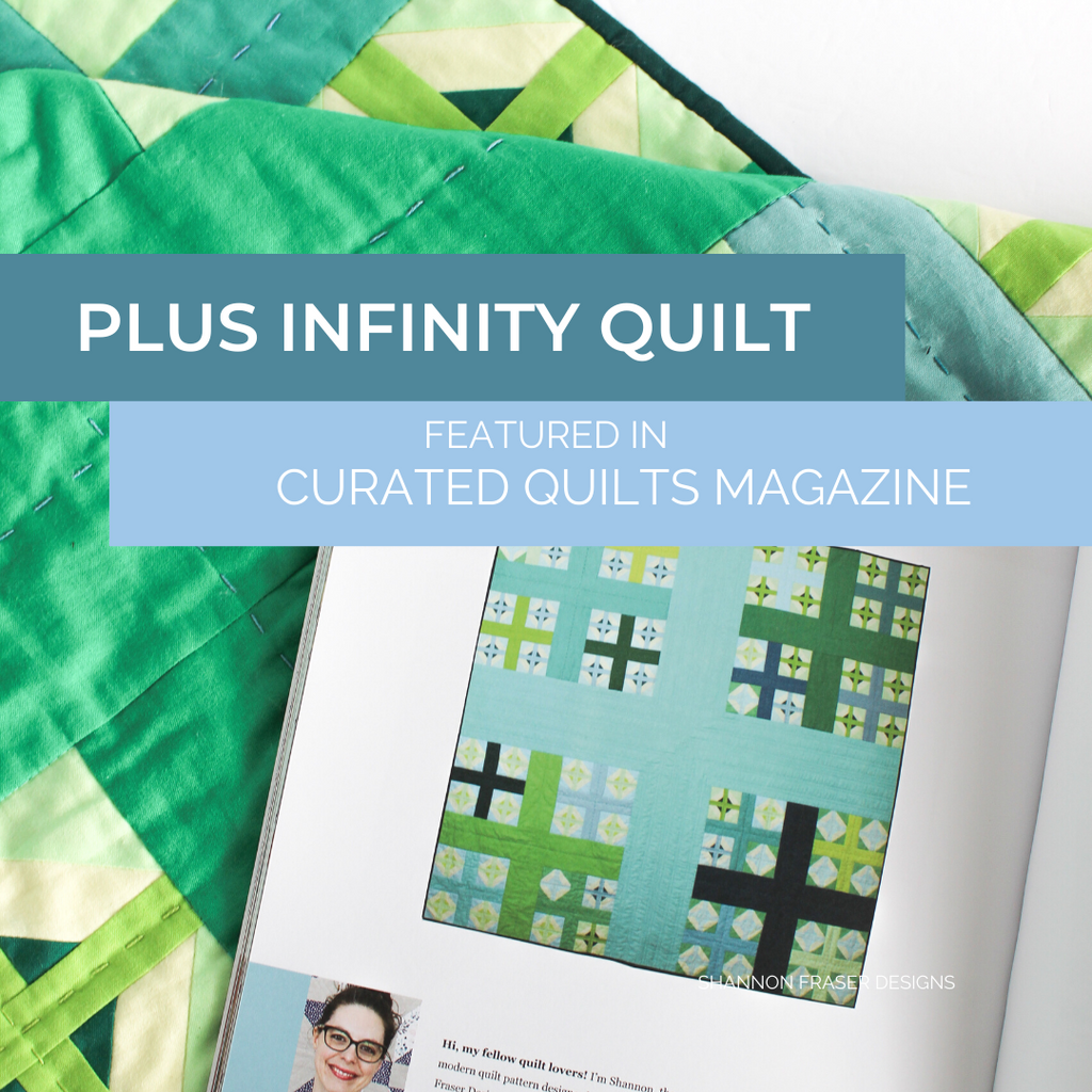 Plus Infinity quilt the solid green and blue version featured in Curated Quilts magazine | Modern quilt pattern | Shannon Fraser Designs #plusquilt