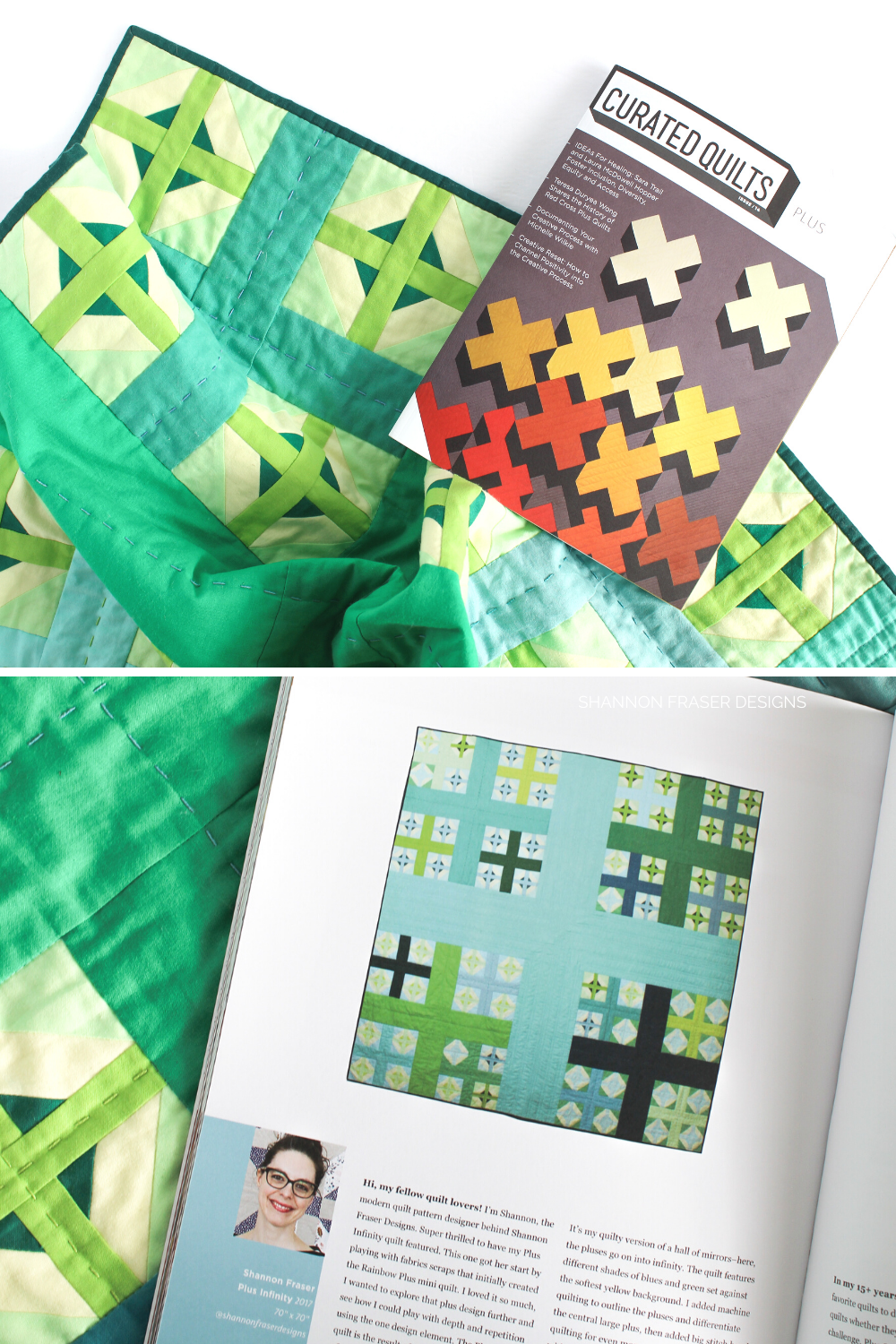 Curated Quilts magazine on top of my Plus Infinity quilt that was featured in the Plus Quilts issue | Modern quilt patterns | Shannon Fraser Designs #quiltmagazine
