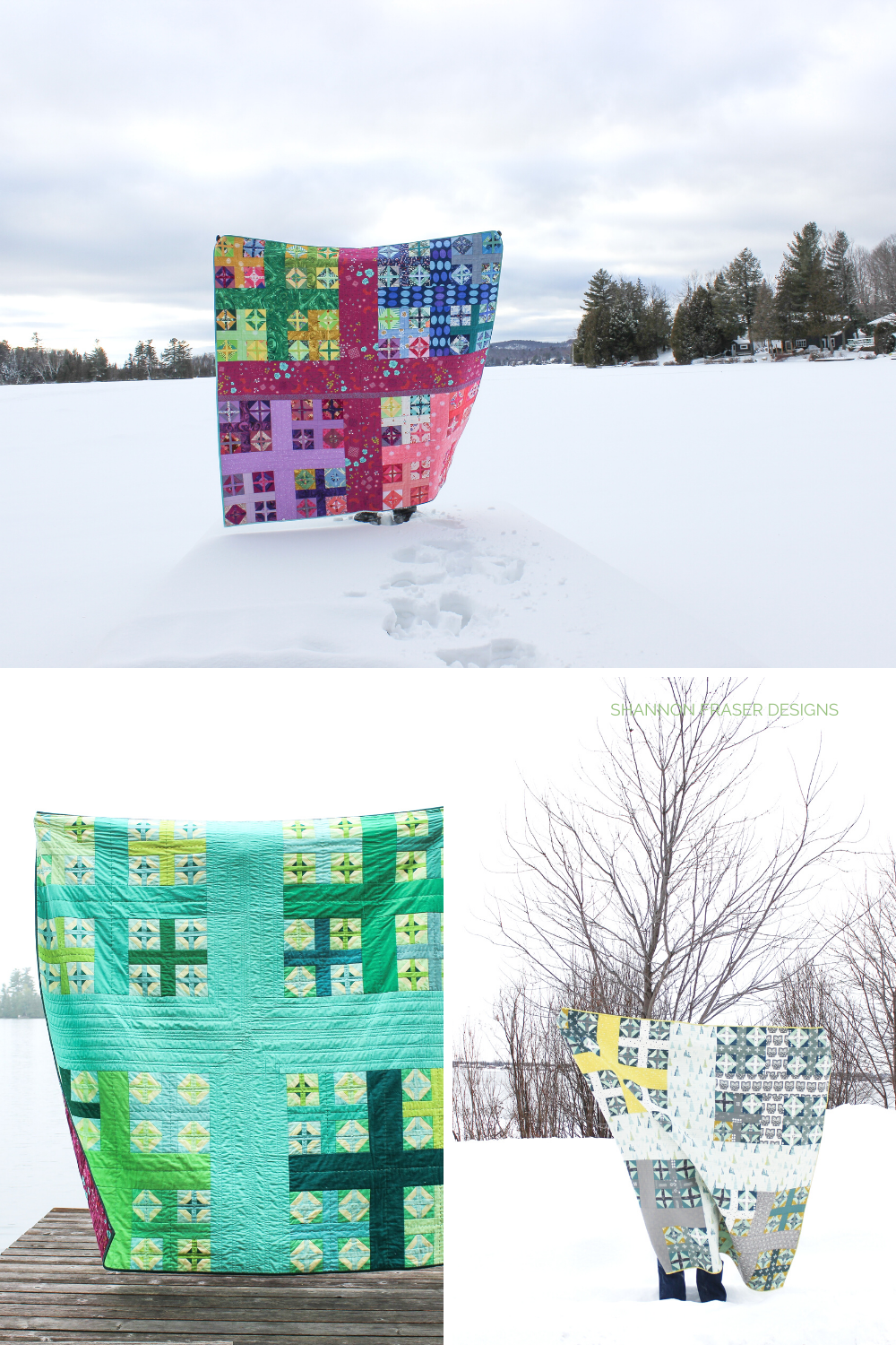 3 different versions of the Plus Infinity quilt pattern out in the wild | Plus Infinity featured in Curated Quilts Magazine | Shannon Fraser Designs #plusquilt