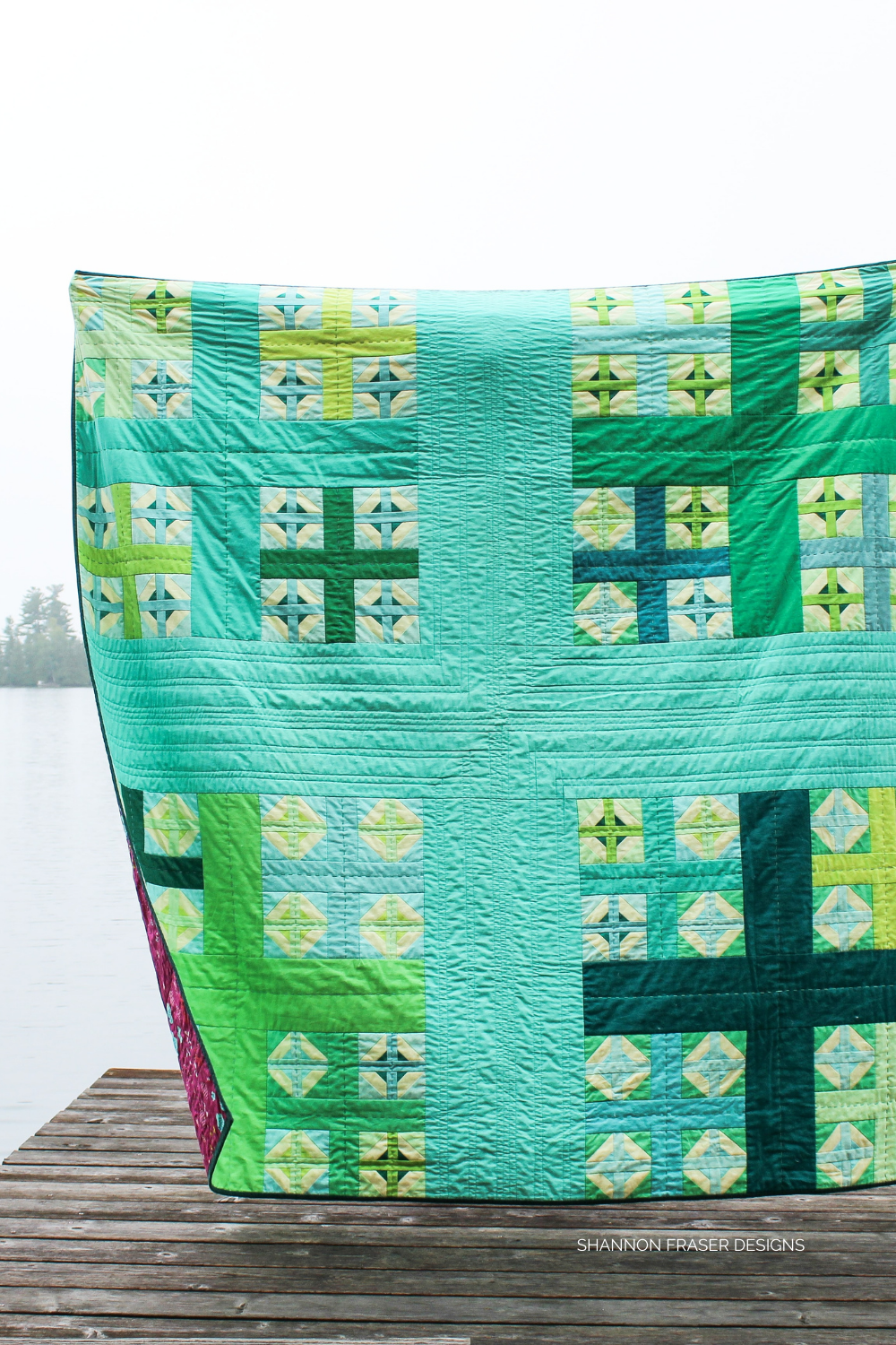 Plus Infinity quilt on a foggy summer morning | Modern plus quilt pattern featured in Curated Quilts | Shannon Fraser Designs #crossquilt