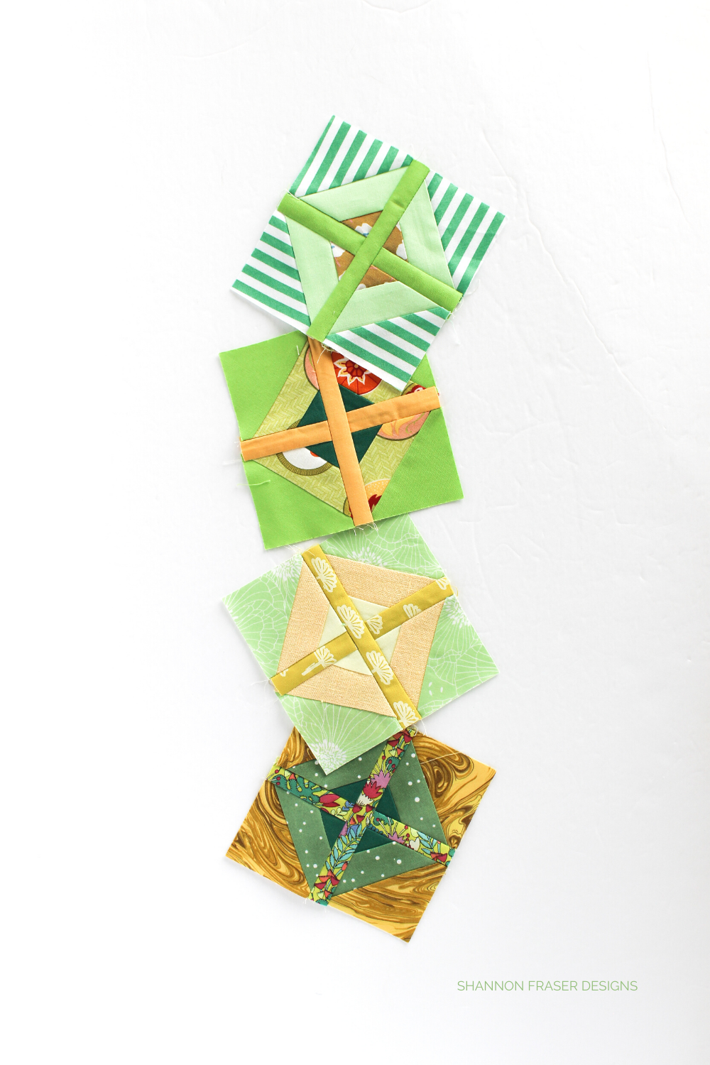 Green and Yellow Plus Infinity Blocks for the scrappy rainbow version | Modern quilt pattern #plusquiltblocks