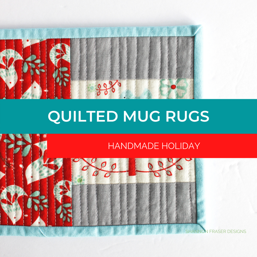 Scandinavian holiday quilted mug rug | Quilted Mug Rugs Handmade Holiday | Shannon Fraser Designs