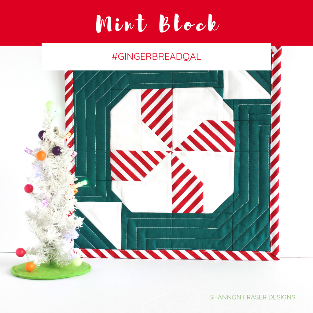 Quilted Mint Block | Love Patchwork and Quilting Magazine #gingerbreadqal | Shannon Fraser Designs #Christmas