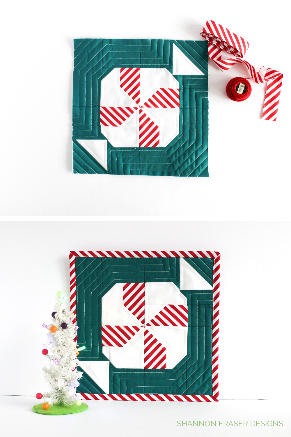 Quilted mini Mint Block with red candy cane stripe binding next to it and showing the complete Mint block with white mini Christmas tree | Shannon Fraser Designs #DIYholidays