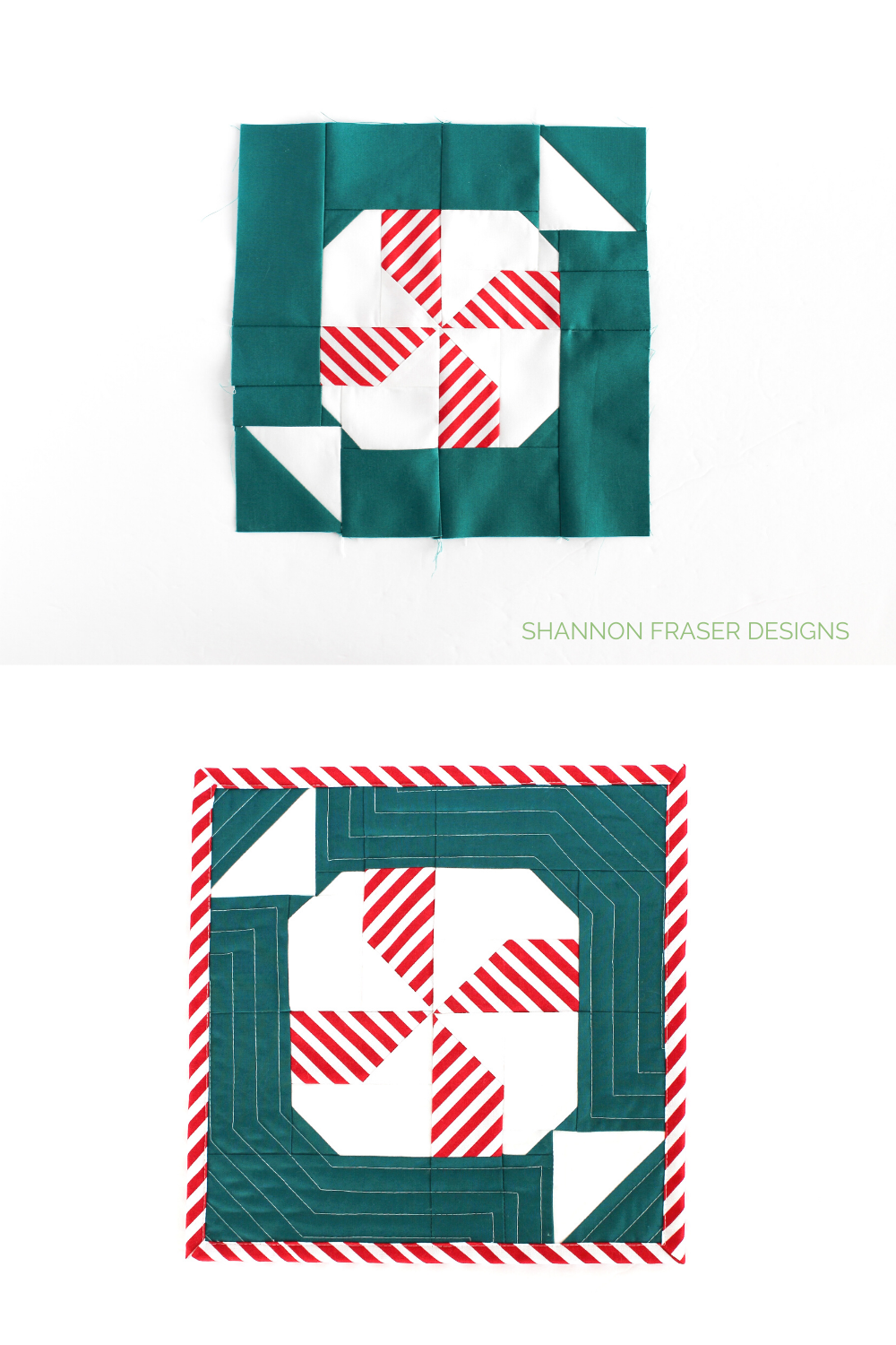 Mint block in teal, white and red stripe pre-quilting and pre-binding and then showing the Quilted Mini Mint Block finished | Shannon Fraser Designs #Christmasquilt