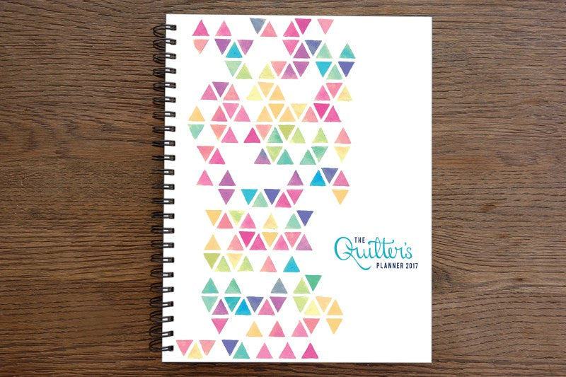 Quilters Planner 2017 on top of a table