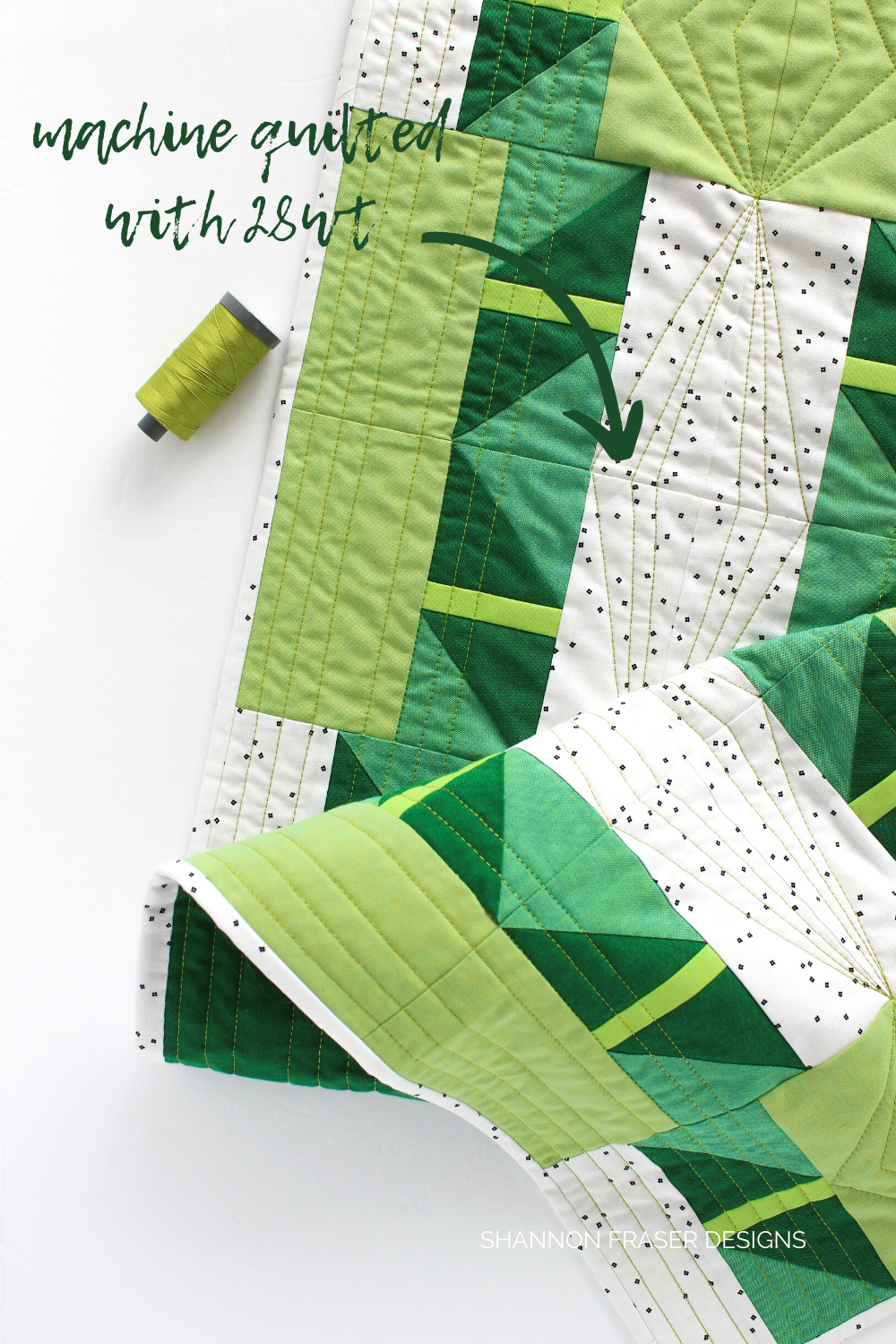 Shattered Star quilted table runner in shades of green Artisan Cottons and quilted with 28wt Aurifil thread for lots of quilty texture | Shannon Fraser Designs #quiltedtablerunner