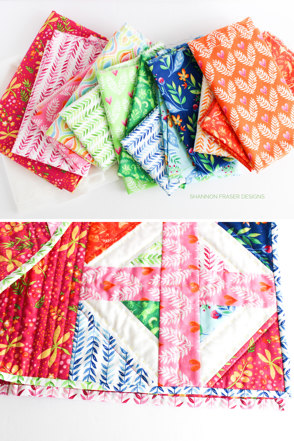 Frolic fabric fat quarters featured in the rainbow Plus Infinity mini quilt | Plus Infinity quilt featured in Curated Quilts Magazine | Shannon Fraser Designs #plusblock
