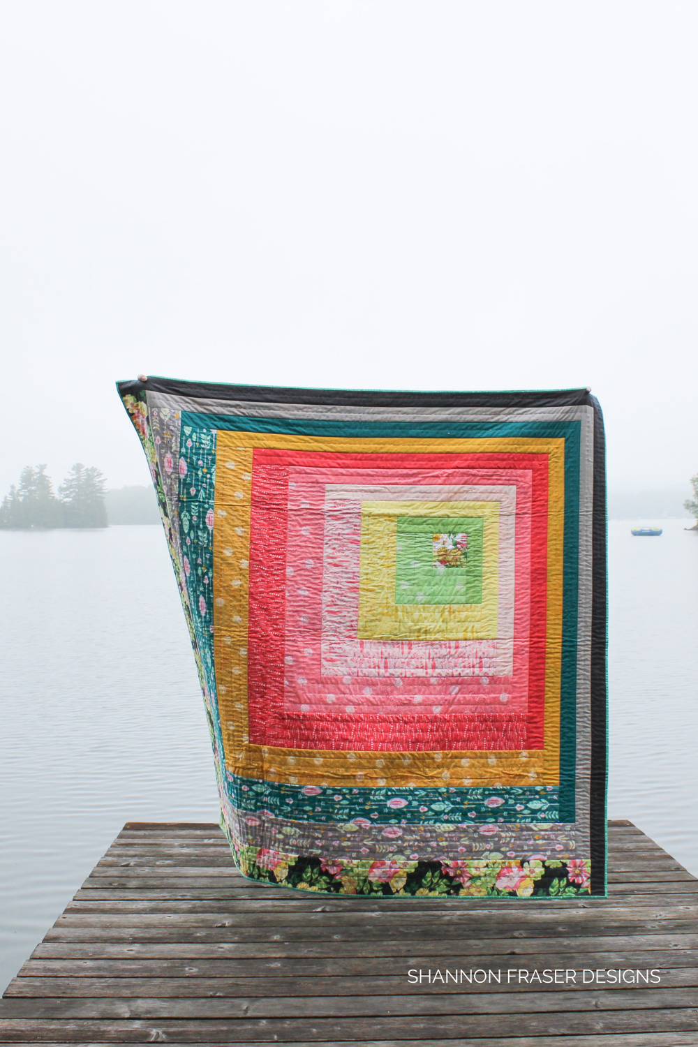 Reverberance Quilt - Joy Version - Caught in the wild on a foggy summer morning on a dock | Modern quilt pattern - Shannon Fraser Designs #modernquilt