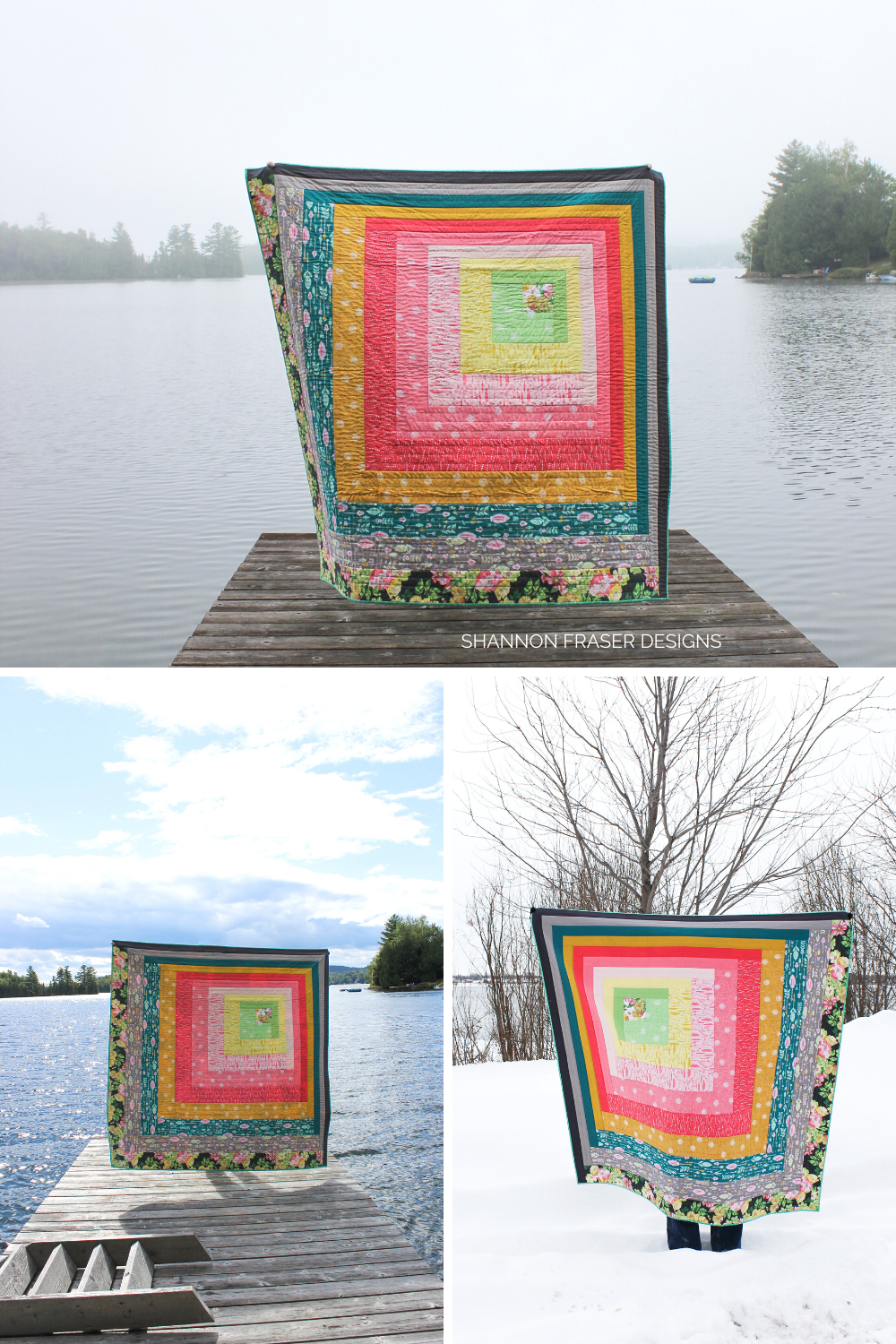 Reverberance quilt in 3 different weather settings: Summer foggy, summer sun and winter | Modern Quilt Pattern | Shannon Fraser Designs #quiltsinthewild