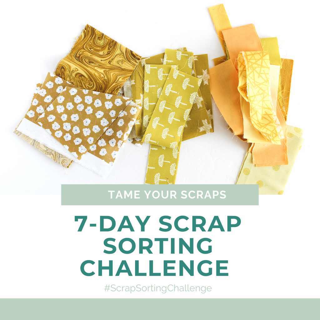 Yellow fabric scraps ready to be sorted through the free 7-Day Scrap Sorting Challenge | Shannon Fraser Designs #fabricscraps