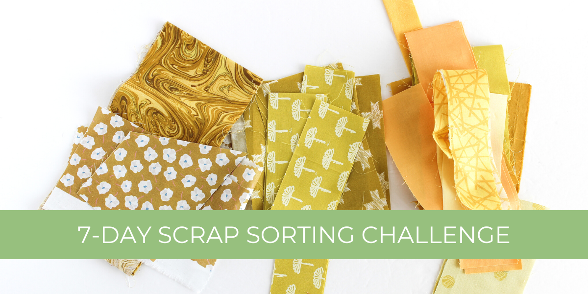 Yellow scrap fabrics laid out in a row | 7-Day Scrap Sorting Challenge | Shannon Fraser Designs