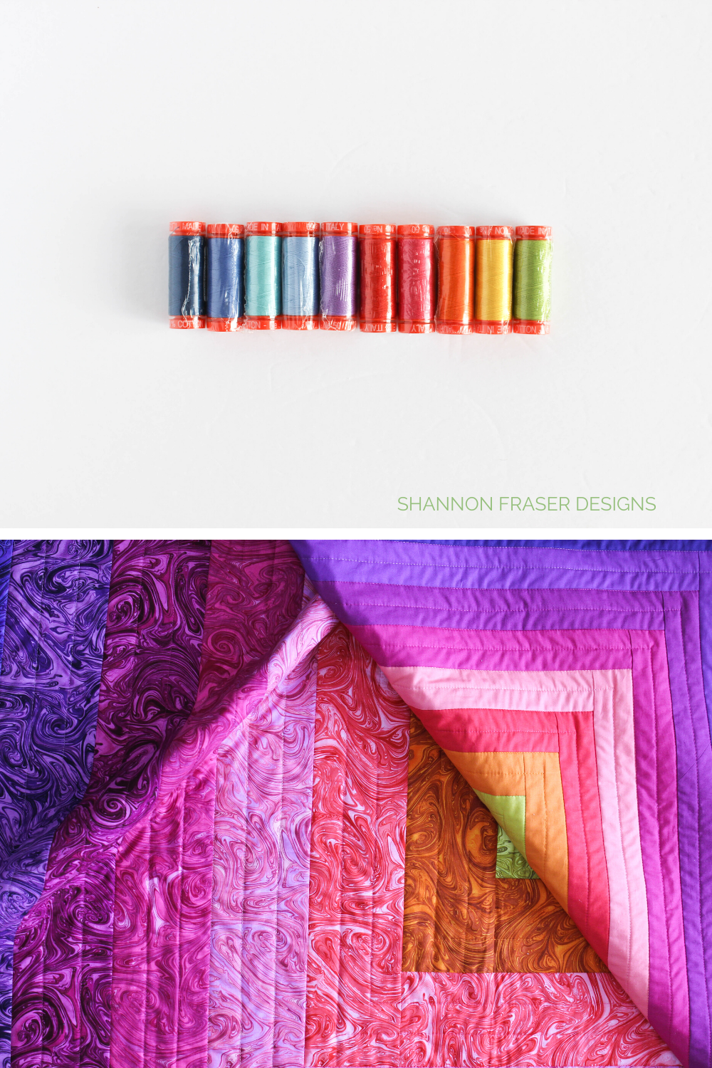 Small spools of Aurifil Thread many of which were used to quilt the Reverberance quilt - the Marble version | Aurifil Artisan Collection 2021 | Shannon Fraser Designs #modernlogcabinquilt