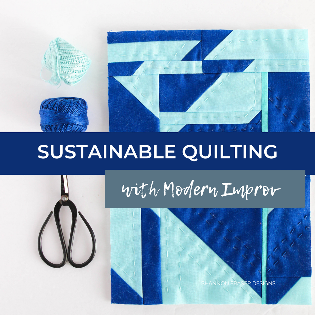Sustainable quilting through the art of improv | Modern mini abstract quilts featuring blue fabric scraps from the Double Windmill quilt | Shannon Fraser Designs #modernabstractart #miniquilt #sustainablequilting