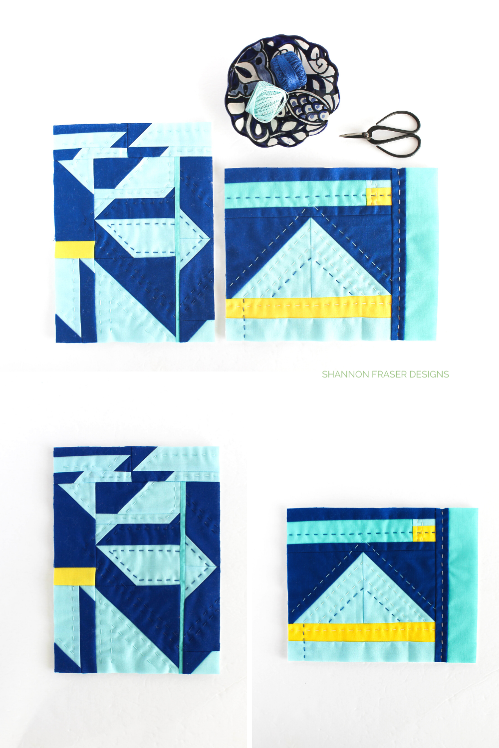 Blue and yellow modern abstract mini improv art quilts hand quilted and made using fabric scraps for a sustainable art project | Shannon Fraser Designs #modernquilter #modernfiberart