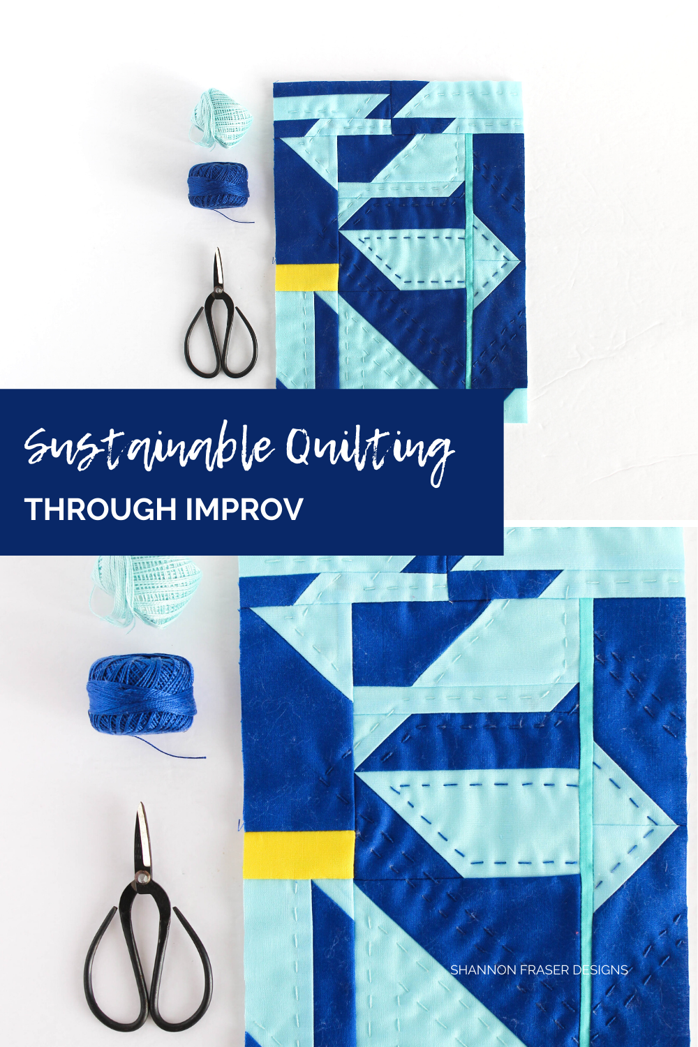 Modern improv mini art quilt featuring blue and yellow fabric scraps leftover from the Double Windmill quilt. Bring sustainability into your quilt practice with improv | Shannon Fraser Designs #modernart #miniquilt #handquilted