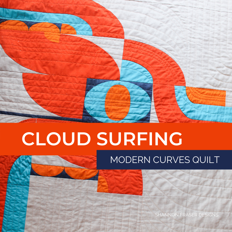 Lap size Retro Cloud Surfing quilt laid out on the floor | Cloud Surfing Modern Curves Quilt | Shannon Fraser Designs