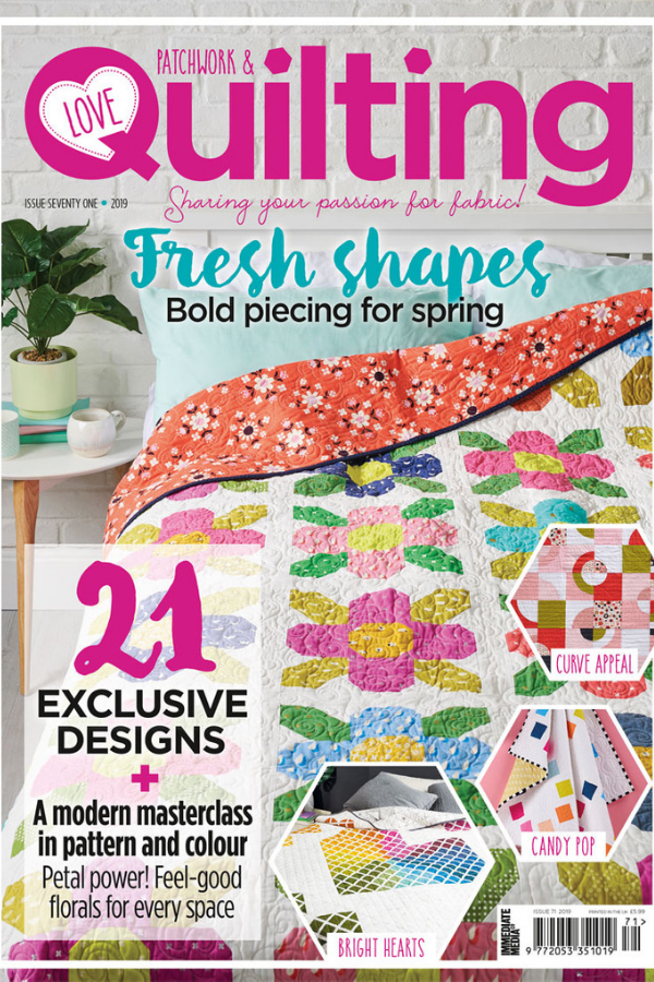 Ecliptic quilt featured in Love Patchwork and Quilting Magazine Issue 71 | Shannon Fraser Designs #lovepatchworkandquilting