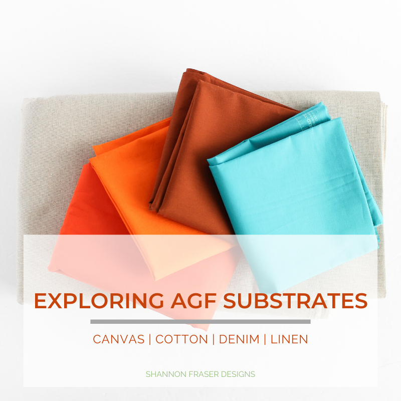 Art Gallery Fabrics PURE solids in orange, brown and turquoise on top of Premium linen blend in sand | Exploring AGF Substrates