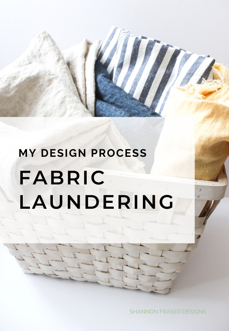 Basket full of laundered linen | My design process: fabric laundering | Shannon Fraser Designs