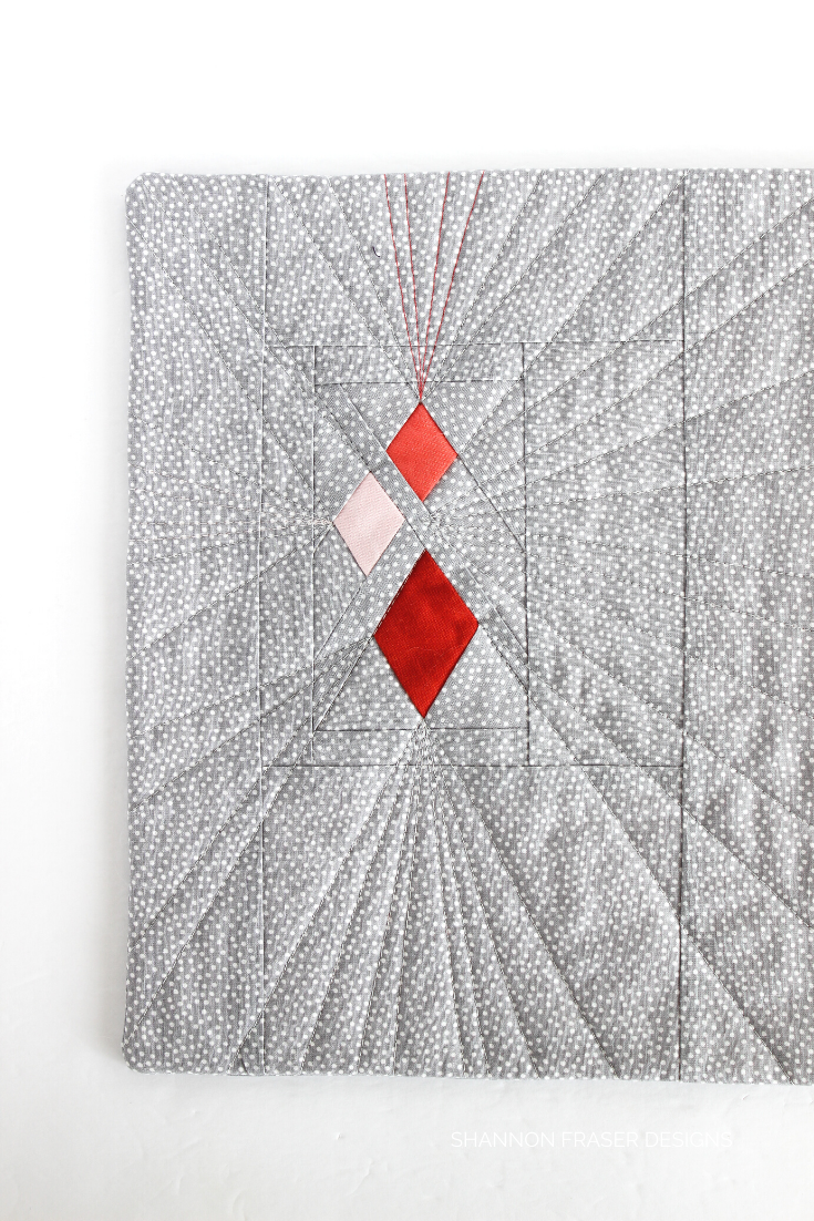 Guiding Lights quilted wall hanging in gray with ombre corally pink diamonds | Shannon Fraser Designs