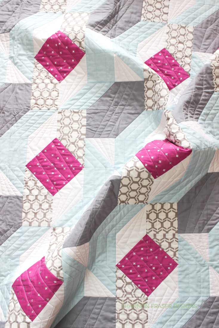 Rocksteady quilt featuring plum, gray, light blue and white | Shannon Fraser Designs