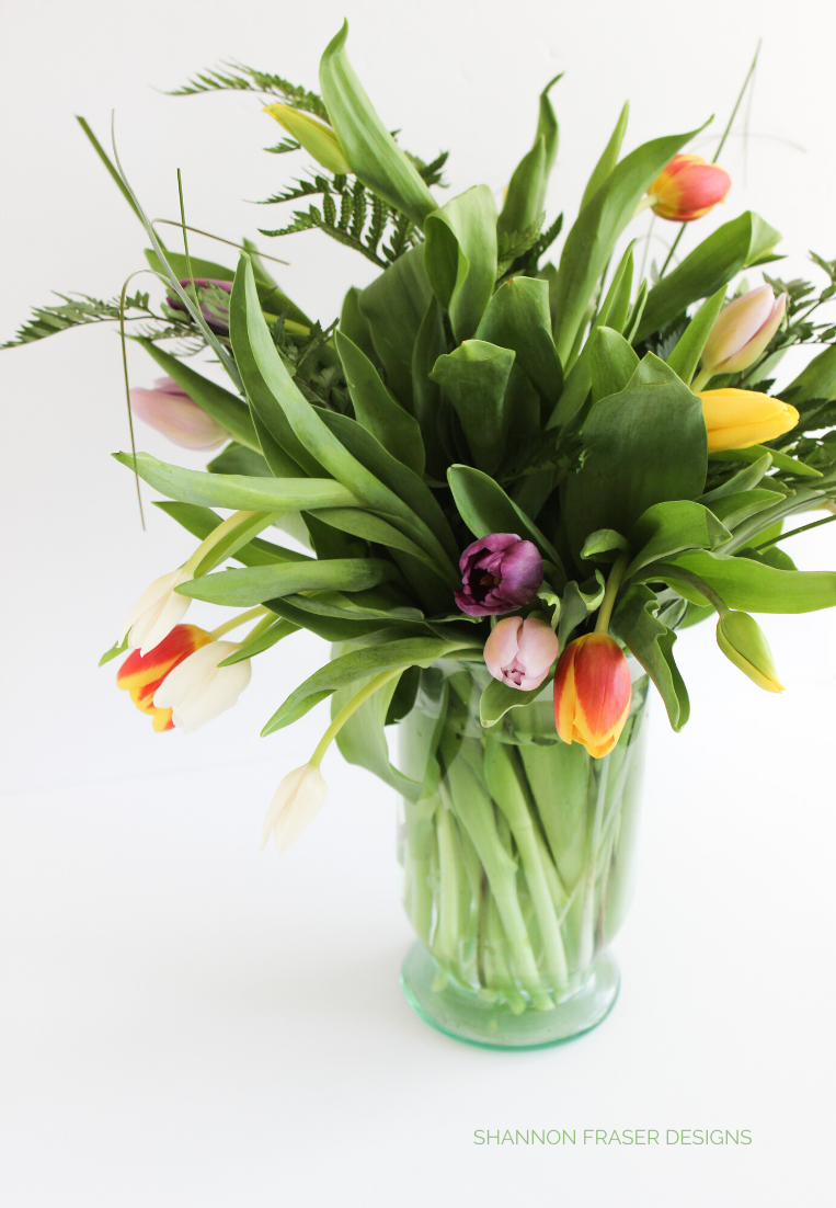 Bouquet of colourful tulips in vase | Shannon Fraser Designs