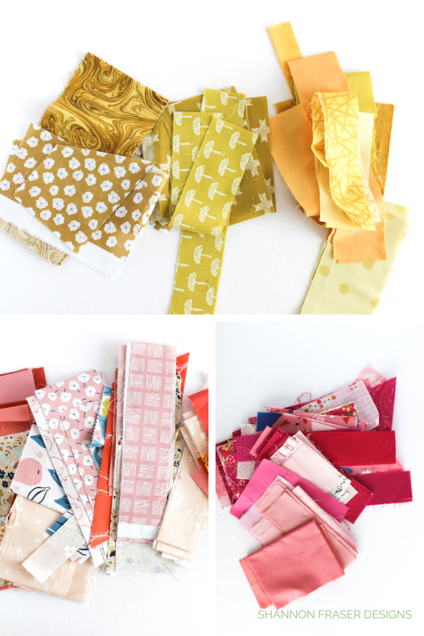 Colourful fabric scraps in yellow coral and pink | Shannon Fraser Designs