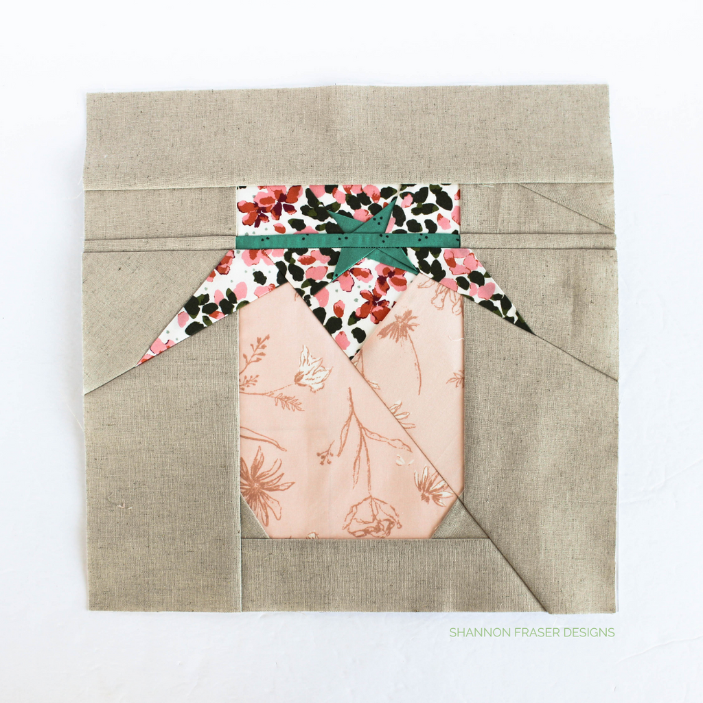 Jolly Jelly block for the quilted table runner featuring AGF Velvet fabric by Amy Sinibaldi | Shannon Fraser Designs #fppquiltblock