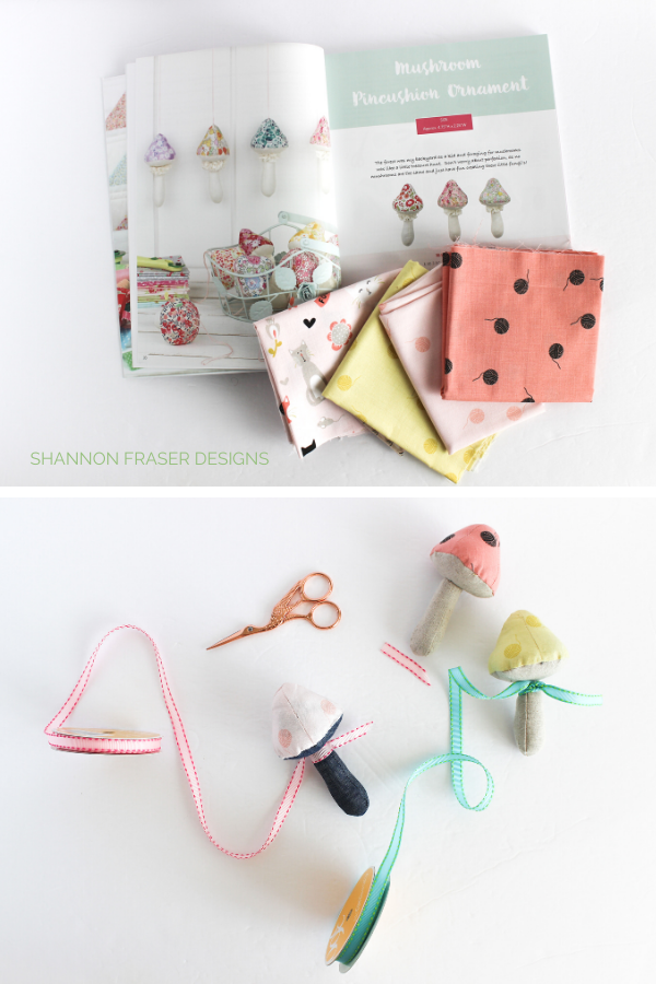 Mushroom Pincushions scattered with ribbon with Patchwork & Gifts book open to the pattern with fabric