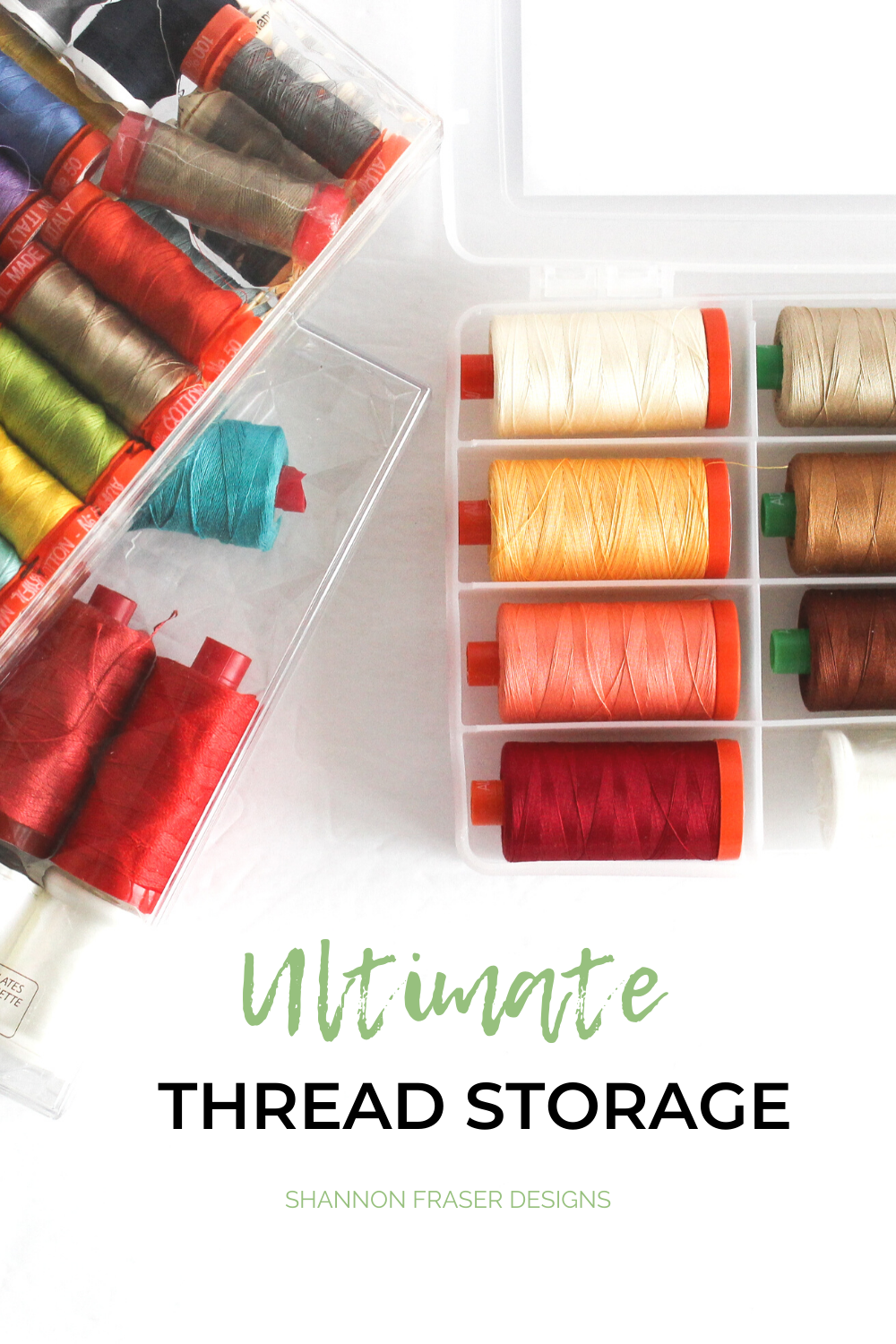 How to organize your different thread spools - small spools, large spools, cones, pearl cotton and embroidery thread that's a lot of thread to organize! See all the tips in the Ultimate Thread Storage Solutions blog post   Shannon Fraser Designs #sewingroom #sewtidy