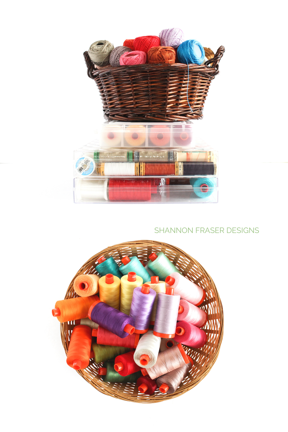 Thread storage solutions for your sewing room! What to do with all those different shapes spools and balls of thread? The Ultimate Thread Storage Solutions blog post has you covered!   Shannon Fraser Designs #threadstorage