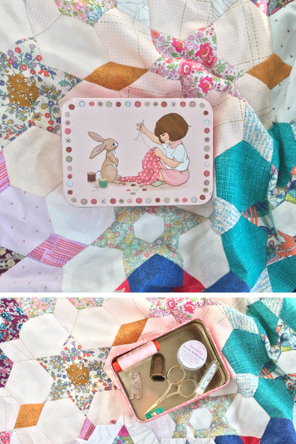 Ange's Belle & Boo tin sitting on her English Paper Pieced quilt | What's in your sewing bag? | Shannon Fraser Designs
