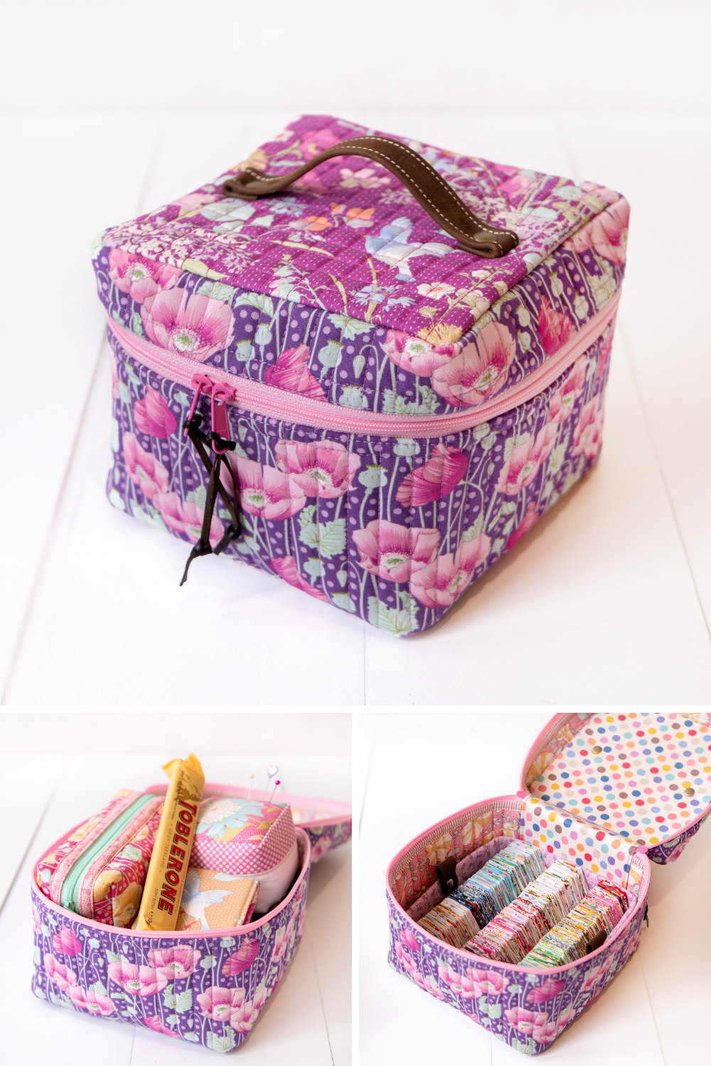 Ali's handmade sewing bag shown filled with different quilting notions | What's in Your Sewing Bag Arabesque Scissors? | Series by Shannon Fraser Designs #sewingkit #quiltingnotions