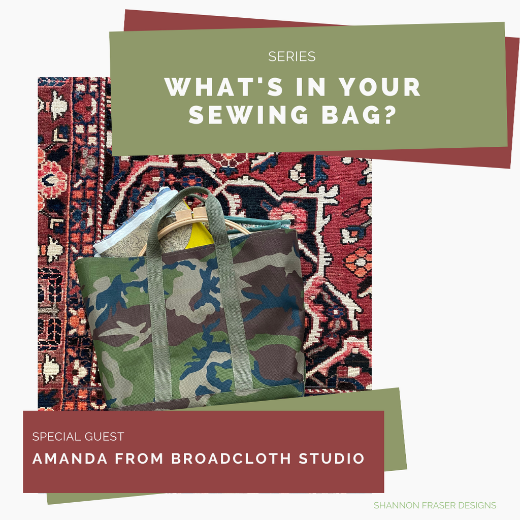 Camo LL Bean tote bag with quilting and sewing notions spilling onto a rug | What's in Your Sewing Bag? | Shannon Fraser Designs