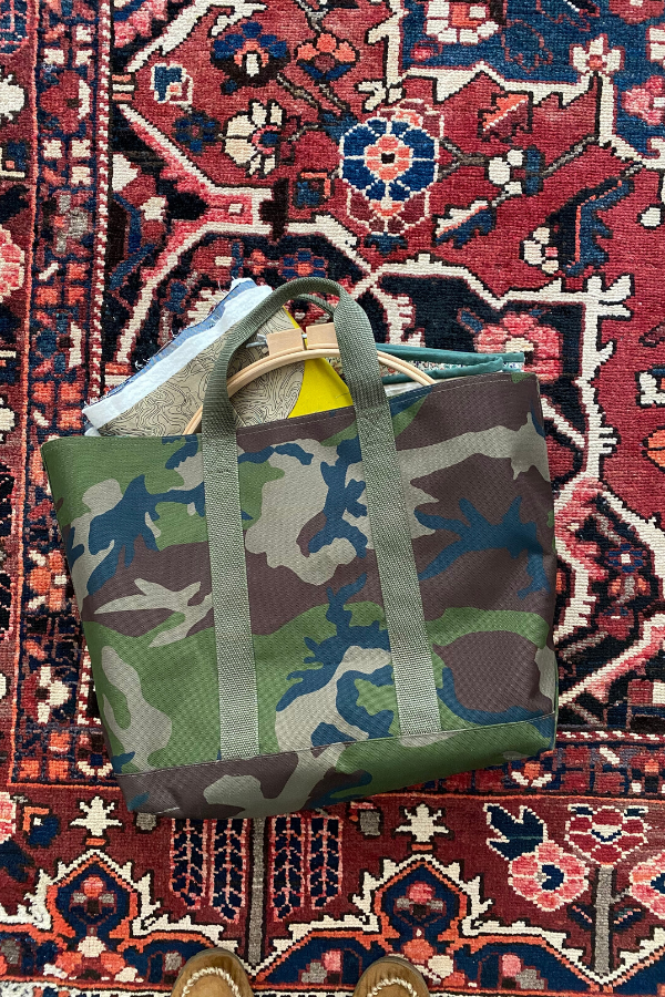Camo LL Bean tote bag with quilting supplies spilling out onto a rug | What's in your sewing bag? | Shannon Fraser Designs