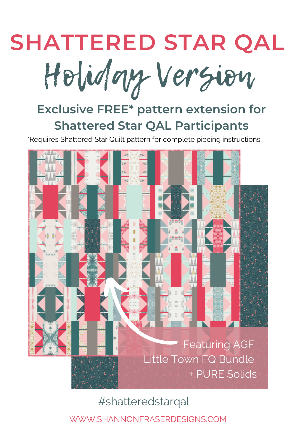 Holiday version of the Shattered Star quilt pattern I'm using for the Quilt Along and it's a FREE pattern extension to newsletter subscribers! | Shannon Fraser Designs #holidayquilt