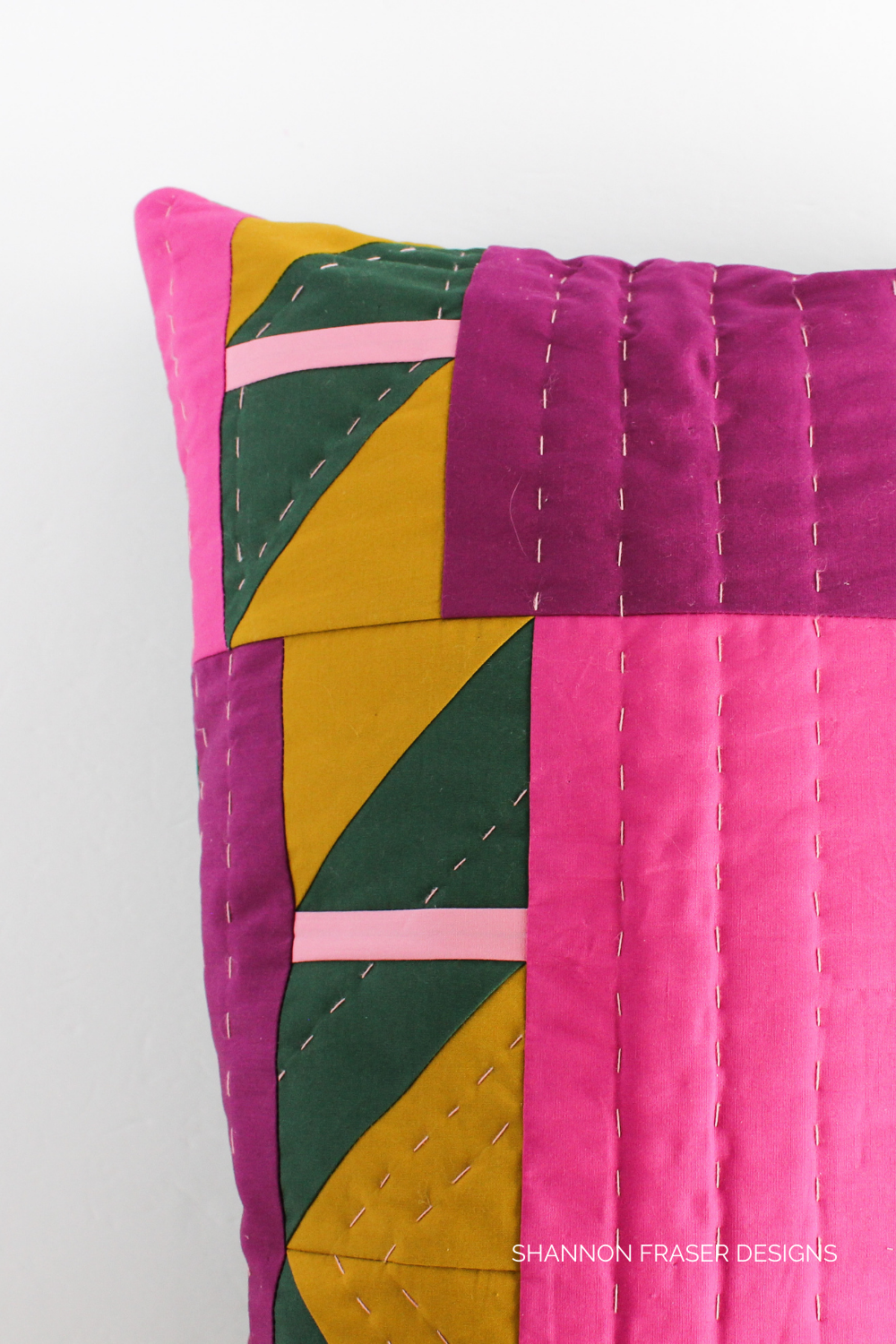 Hand quilted details on the Shattered Star pillow | Modern cushion pattern | Shannon Fraser Designs #handquilting