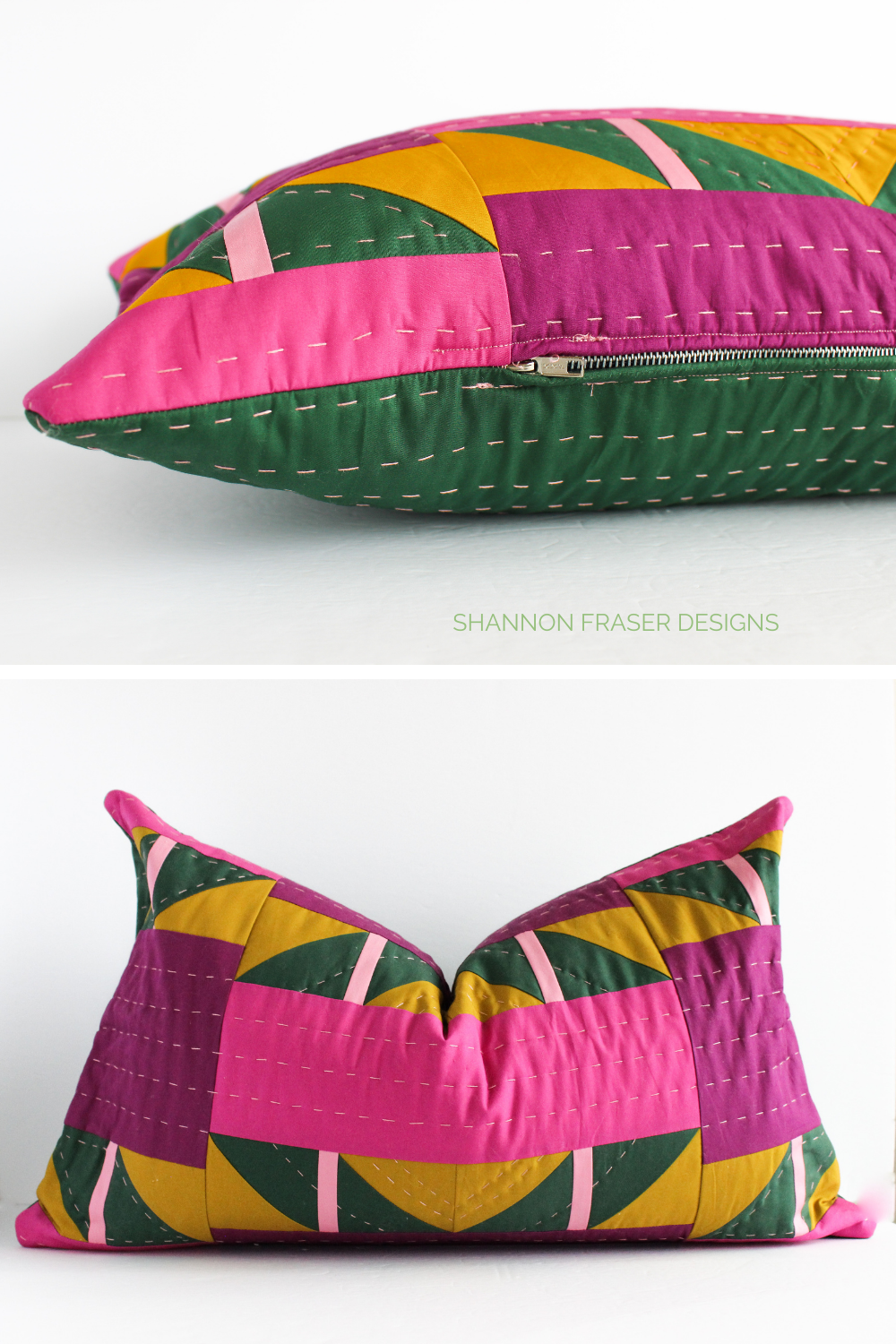 Shattered Star quilted lumbar pillow with the metal zipper installed | Sewing tutorial: how to install a metal zipper in a cushion | Shannon Fraser Designs #quiltedcushion